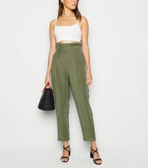 丝光绿高腰裤