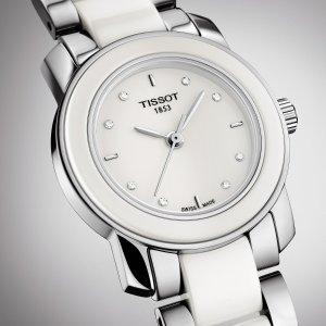 TissotT-Trend 镶钻白陶瓷精钢女表