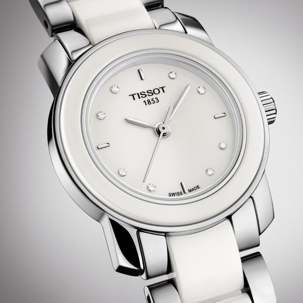 T-Trend 镶钻白陶瓷精钢女表
