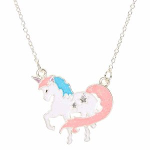 Pastel Glitter Unicorn Pendant Necklace