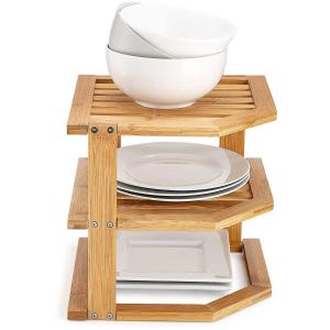 $29.99 (原价$49.99)白菜价:厨房碗碟三层竹子转角收纳架