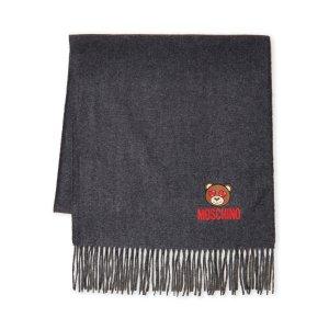 Moschino桃心眼小熊羊毛圍巾
