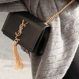 无门槛8.5折 logo手链、小白鞋都有Saint Laurent 精选包包配饰限时闪促 Kate流苏包罕见有折