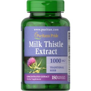 Puritan's Pride of Milk Thistle 4:1 Extract 1000 Mg (Silymarin)-180 Softgels - Walmart.com