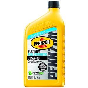 5 Count For $9.75Pennzoil Platinum 5W-30 Dexos Full Synthetic Motor Oil, 1 qt