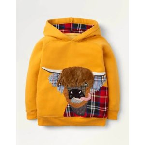 BodenPatch Applique Hoodie - Honeycomb Yellow HIghland Cow | Boden US