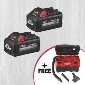 Milwaukee M18 REDLITHIUM High Output XC6.0 Battery 2-Pack with FREE M18 Cordless 2-Gallon Wet/Dry Vacuum