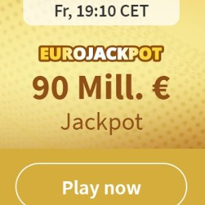 没有手续费 快来试试运气德国北威州幸运鹅赢得9000万欧大奖的 EUROJACKPOT买4付1