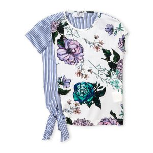 YOUNG VERSACE(Girls 7-16) Floral & Stripe Print Tee