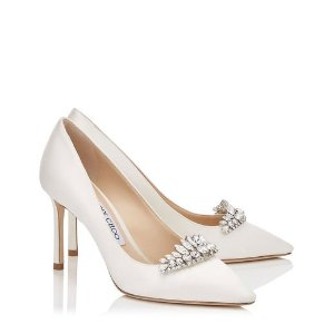 Ivory Satin Pointy Toe Pumps with Crystal Tiara  | Romy | Bridal | JIMMY CHOO