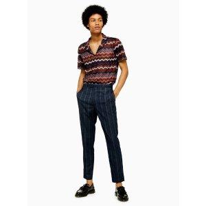 TopmanBuy 1 Get 1 50% OffNavy Check Skinny Cropped Pants