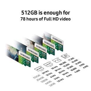 256GB $28 + 100MB/sSamsung EVO Select U3 MicroSDXC 存储卡