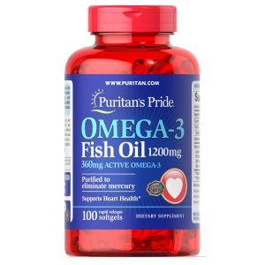 Puritan's PrideOmega-3 鱼油 1200 mg 100粒