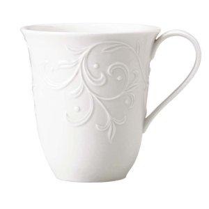 Lenox 浮雕白瓷马克杯