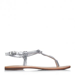 银色夹脚平底凉鞋