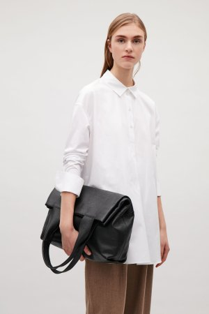 LARGE GRAINED LEATHER BAG - Black - Tote bags - COS