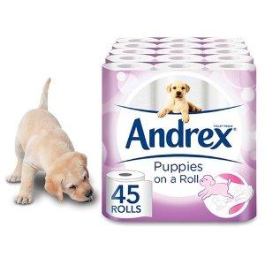 低至45折 45卷90卷135卷都有Andrex 人气火爆的小狗纸巾折扣热卖
