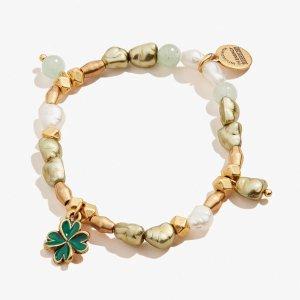 Alex and AniFour Leaf Clover Beaded Charm Stretch Bracelet Shiny Gold