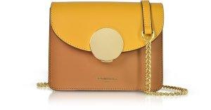 Le Parmentier Caramel/Saffron New Ondina Mini Color Block Shoulder Bag at FORZIERI