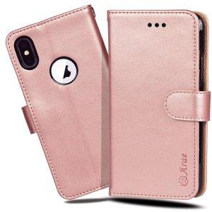 $11.74(原价$16.77) 还能当手机支架iPhone X/XS 钱包式手机壳 赠送手持腕带 放卡放钱还防摔