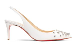 Christian Louboutin | Drama 70 studded patent-leather slingback pumps | NET-A-PORTER.COM