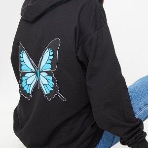 低至2折  £8收蝴蝶T恤PLT 蝴蝶元素 卫衣、短袖、渔夫帽都有