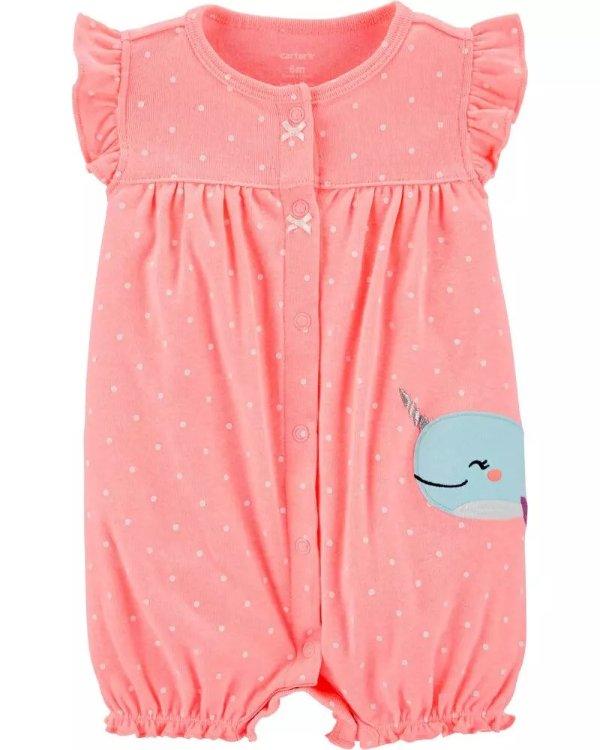 婴儿独角鲸贴布绣爬服