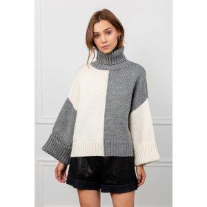 J.ING购买2件8.5折 购买3件8折灰白拼色毛衣