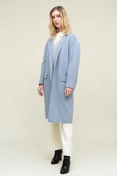 蓝色小翻领双面羊毛大衣