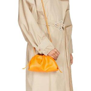 Bottega VenetaTHE MINI SMOOTH LEATHER POUCH 橙色