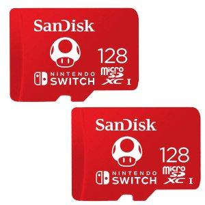 SanDisk128GB 蘑菇配色 microSDXC 存储卡 2件装