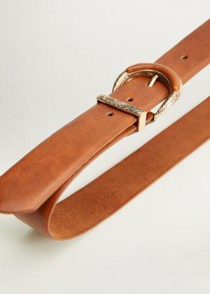 Engraved buckle leather belt -  Women | Mango USA