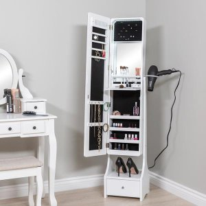 $99.99Best Choice Products Standing Full Length LED Mirror Jewelry Armoire w/Interior & Exterior Lights