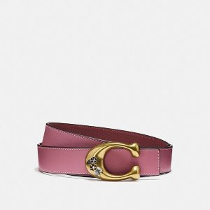 CoachTea Rose Sculpted Signature Reversible Belt