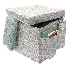 Pleasing Sit Store Folding Storage Ottoman In Silver Dealmoon Machost Co Dining Chair Design Ideas Machostcouk