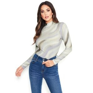 BebePrinted Long Sleeve Mesh Party Top