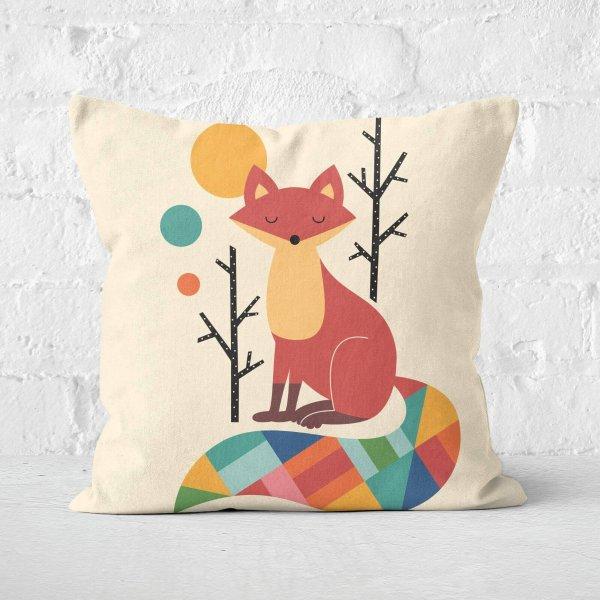 Rainbow Fox Square Cushion