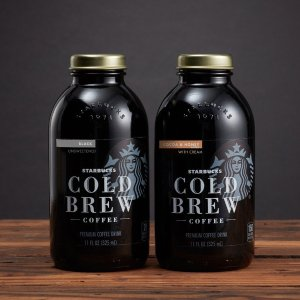 $13.63 Starbucks Cold Brew Coffee Black Unsweetened 11 oz Glass Bottles, 6 Count