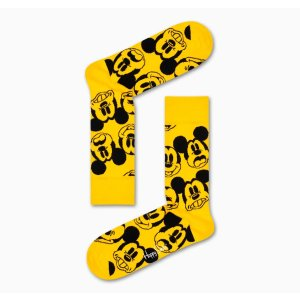 Happy Socks黄色米奇中筒袜