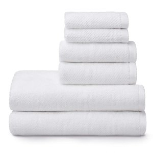 Welhome Franklin 100% Cotton Textured Towel (White) - Set of 6 - Highly Absorbent