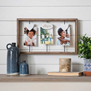 New!Hearts with Love 3-Opening Wood Collage Clip Frame