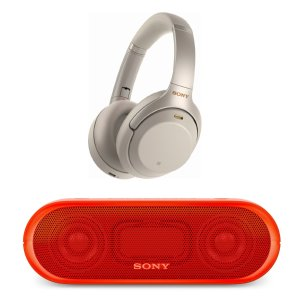 SonyWH-1000XM3 Noise Canceling Headphones (Silver) & Bluetooth Speaker Bundle