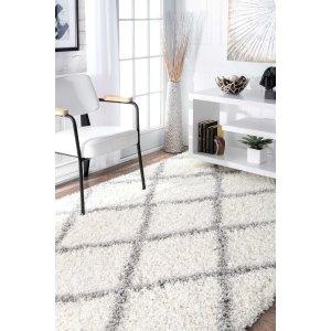 Soft and Plush Diamond Trellis Moroccan Lattice Shag Rug - Scandinavian - Area Rugs - by nuLOOM