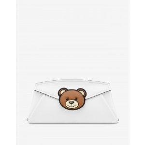 MoschinoCalfskin clutch Teddy Patch - Womenswear Collection - SS21 COLLECTION - Moods - Moschino | Moschino Official Online Shop