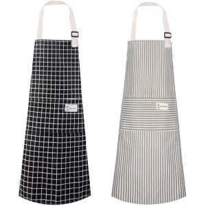 Polma Aprons, 2 Pack Cotton Linen Adjustable Bib Aprons with 2 Pockets