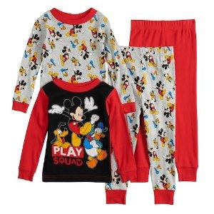 低至5折+额外8.5折+送礼券Disney 儿童卡通服饰折上折促销 收四件套睡衣超划算
