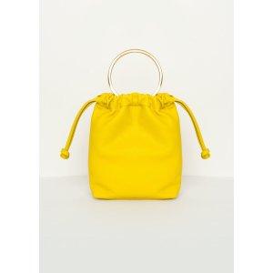 Neon Yellow Ring Handle Drawstring Bag