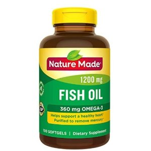 $5.69Nature Made Fish Oil 1200 mg & Omega-3 360 mg Softgels 100 Count