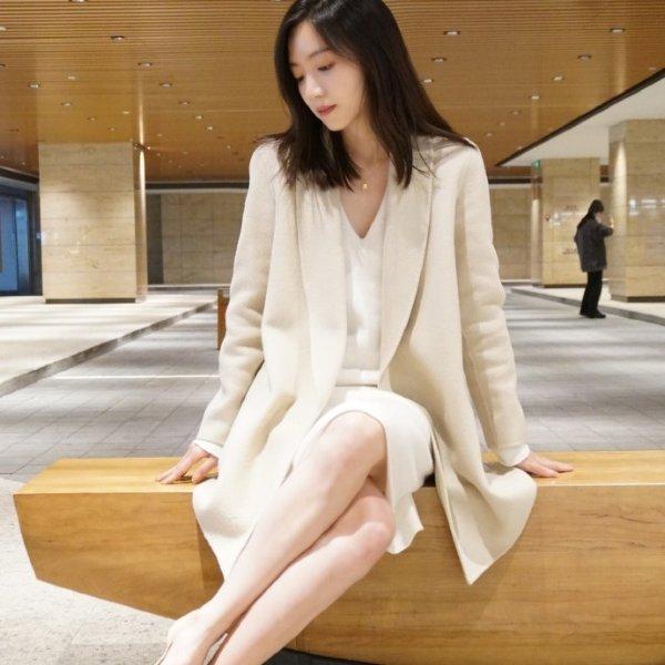 奶油白克什米尔羊毛大衣