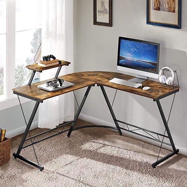 51.2英寸现代转角电脑桌 带显示器支架